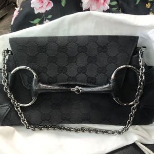 Gucci Horse bit clutch with chain
